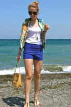 chartreuse floral bomber chicnova jacket - blue mini Zlz shorts