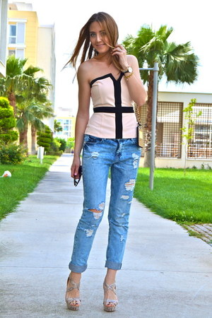 light pink Milla by Trendyol top - navy boyfriend jeans Stradivarius jeans