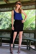 black Jessica Buurman sandals - blue Stylebutik top