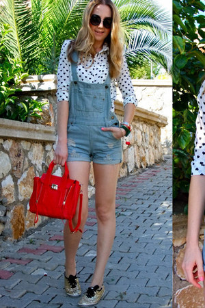 red cherry Jessica Buurman bracelet - white Sheinside shirt