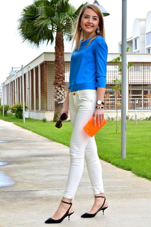 carrot orange neon Zara bag - white Milla by Trendyol jeans