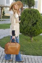 tan floppy hat Milasorta hat - beige fur Sheinside coat