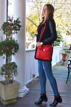 black studded Chicwish boots - black leather lookbookstore coat