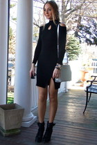 black knitted BangGood dress - black lace up Chicwish boots - silver DKNY bag
