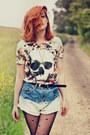 Romwe-shorts-asos-tights-nelly-heels-romwe-t-shirt