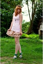 Pimkie dress - green wedges shoes - pink H&M t-shirt