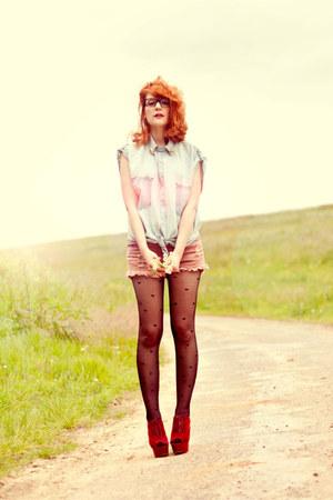 skull collar romwe shirt - romwe shorts - asos heels