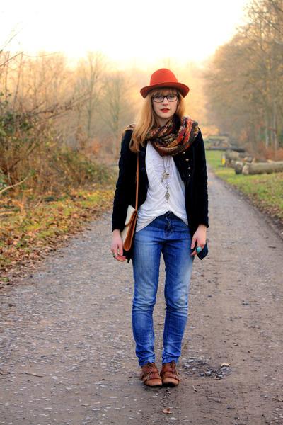 new look shoes - Pimkie jeans - Zara jacket - H&M shirt - vintage bag