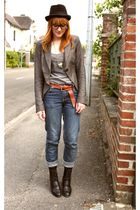 Cheap Monday jeans - jacket - vintage shoes - vintage belt - H&M t-shirt