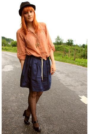 orange Zara shirt - blue Zara skirt