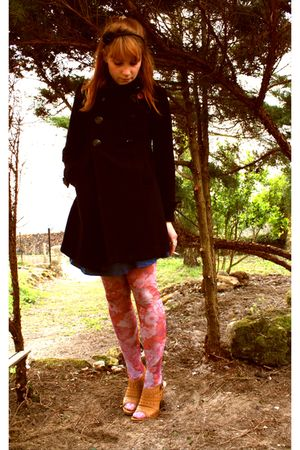Zara coat - Naf Naf dress - H&M tights