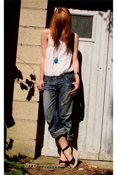 white shirt - Zara jeans