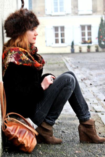 H&M hat - Zara boots - Cheap Monday jeans - vintage coat - vintage bag