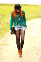 asos wedges - teal lace Zara sweater - Zara shorts
