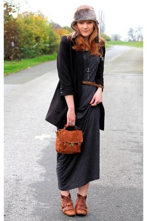 H&M dress - new look boots - H&M jacket - Pimkie bag