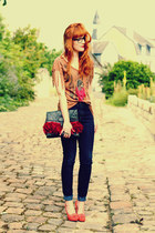 vintage bag - new look heels - Pimkie top