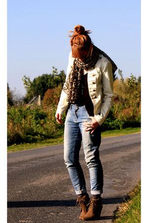 H&M jacket - Pimkie jeans - H&M top - H&M scarf