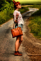 new look boots - vintage bag - Naf Naf shorts - english flowers cardigan