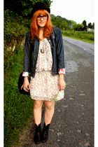 Jeans blazer - Naf Naf dress - vintage shoes - H&M purse
