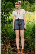 H&M t-shirt - Cache Cache necklace - Pimkie shorts