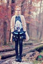 tiger Mrgugu&MsGo sweatshirt - Nelly shoes - oversized Choies coat - romwe skirt