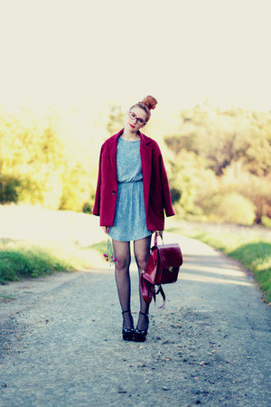 oversized Choies coat - crochet awwdore dress - romwe bag - cats milanoo wedges
