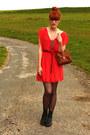 Vintage-boots-vintage-dress-pimkie-bag
