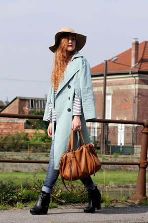 button up Front Row Shop coat - Chicwish hat - Forever 21 bag - Nelly wedges