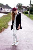 rolled wine hat OASAP hat - polka dots younghungryfree shirt - Adidas sneakers