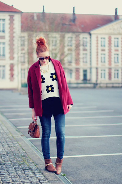 floral print awwdore sweater - asos boots - oversized Choies coat