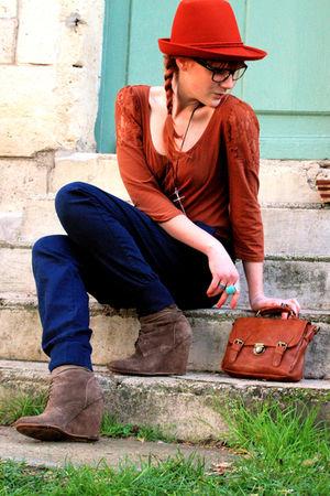 Zara pants - Zara boots - Zara hat - H&M top