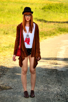 new look bag - Zara shorts - H&M necklace - vintage cardigan