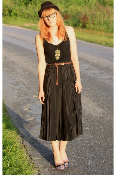 vintage skirt - Zara top - vintage hat