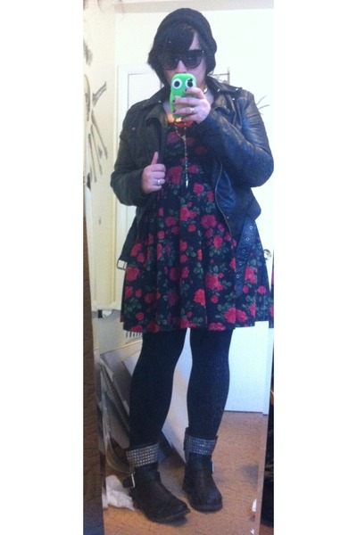 black American Eagle boots - black Hot Topic dress - black H&M jacket