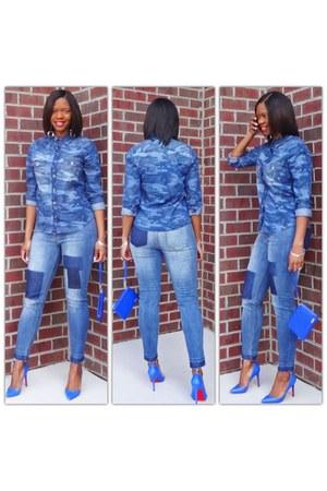 denim blouse - patchwork jeans