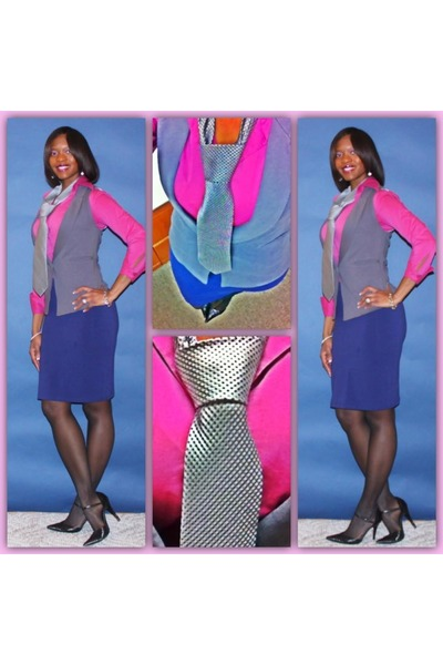 blue tie - pink blouse - grey vest - blue skirt