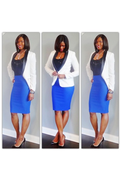d8239a8d6a Tuxedo Blazers, Royal Blue Skirts, Black Pumps |