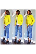lime jacket - booties shoes - denim jeans