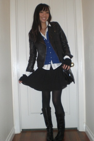 silence and noise jacket - American Apparel vest - H&MXCDG blouse - f21 skirt -