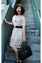 black mary janes Chie Mihara shoes - beige lace dress vintage dress