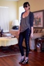 gray American Apparel sweater - gray strappy wedges Old Navy shoes