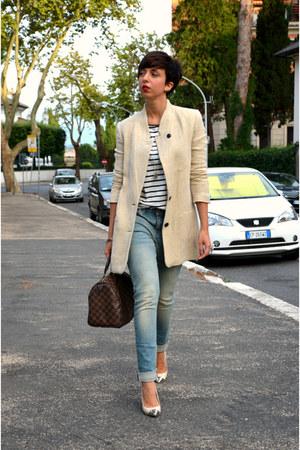 Zara blazer - Levis jeans - Louis Vuitton bag - Camaïeu t-shirt - Spartoo heels