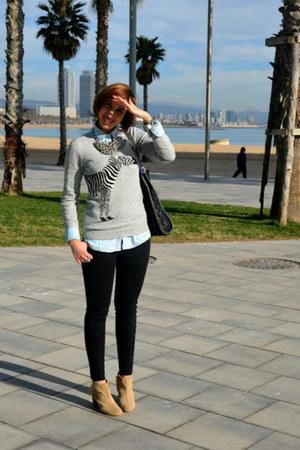 Pull and Bear sweater - Zara boots - Zara jeans - Stradivarius shirt
