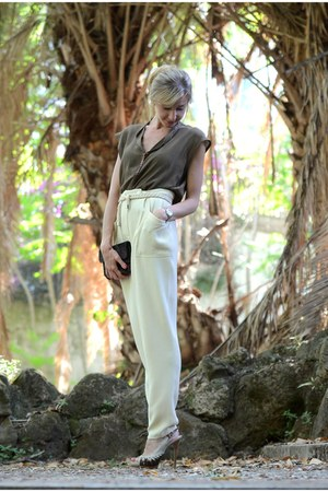 asos belt - light brown vintage blouse - ivory vintage pants