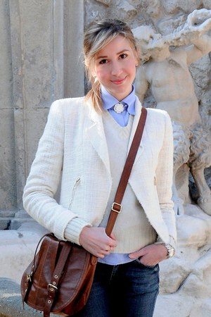 dark brown Bag bag - cream Zara blazer - sky blue antichi telai shirt