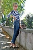 red kiko make up accessories - white Geox loafers - navy Zara t-shirt