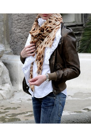 beige no brand scarf - brown no brand scarf - white no brand scarf