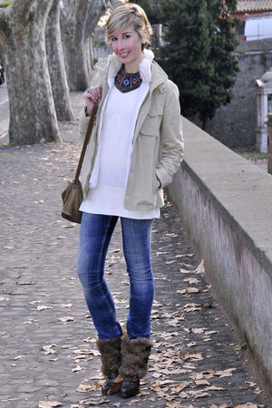 ruby red Zara necklace - camel my time life coat - navy dondup jeans