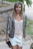 silver Zara jacket - ivory Mango shorts - peach Zara t-shirt
