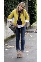 yellow vintage jacket - navy Le temps des cerises jeans
